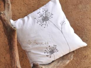 本原手工 手绘亚麻 棉麻(合欢)抱枕靠枕套 靠垫布艺 田园,靠垫,