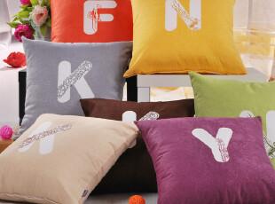 妍心 纯色字母 靠背 床头靠枕 汽车抱枕 沙发靠垫 特价 方垫 绣花,靠垫,
