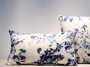 米子家居日式和风居家布艺 水墨丹青棉麻布腰枕/抱枕(含芯出售),靠垫,