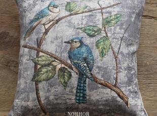 北欧表情美克美家美式乡村天然亚麻靠垫抱枕(含内胆)织布鸟2,靠垫,
