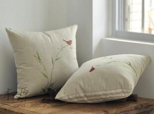 原创 条纹素色 亚麻 手绘 抱枕套 靠枕 靠垫 田园,靠垫,