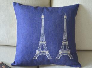 外贸宜家北欧 巴黎双铁塔 棉麻沙发靠垫抱枕靠枕,靠垫,