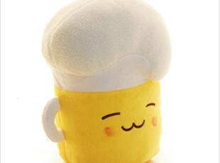 2012韩国代购可爱泡沫啤酒造型双面表情卡通礼品毛绒玩具靠背靠垫,靠垫,