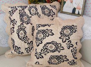 【甜园风尚】复古玫瑰变色龙绗缝布艺家用车用靠垫|抱枕50-60,靠垫,