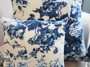 棉麻抱枕套靠枕套方枕套(不含芯)水墨蓝花,靠垫,