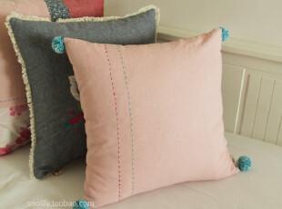 SNO生活布艺◢45*45 棉麻 手工缝线 毛球 糖果粉◆靠垫套 抱枕套,靠垫,