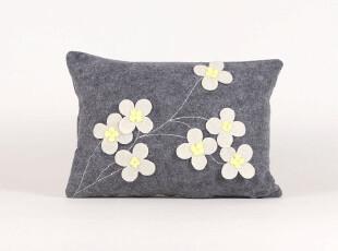 【布果】  手工定制 羊毛毡 绣花羊毛尼 花朵 抱枕/枕头/靠垫,靠垫,