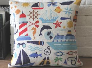 外贸 宜家地中海海洋风复古怀旧棉麻靠垫靠枕抱枕沙发垫(含芯),靠垫,