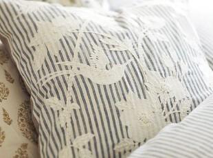 简单的奢华 英王爱德华时代蓝色细条纹蜂鸟绣花欧式靠垫套,靠垫,