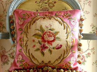 千棵树 明艳法式宫廷风格 JF1258C粉色丝绣抱枕 靠垫套 结婚礼物,靠垫,