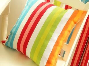 优麦家品 欧式乡村布艺靠垫抱枕套靠枕套可配芯 阳光条纹,靠垫,