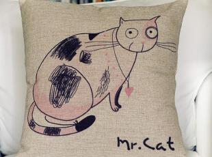 外贸 宜家可爱创意Mr Cat猫咪1号 棉麻抱枕 办公室靠垫沙发垫含芯,靠垫,