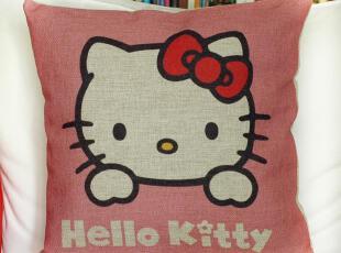 外贸卡通可爱HelloKitty 棉麻抱枕 办公室靠垫汽车靠枕沙发垫含芯,靠垫,