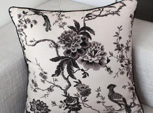 致惠 水墨画系列布艺沙发抱枕 加厚印花帆布靠垫 靠枕 鸟语花香,靠垫,
