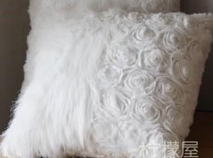 【欧式风格】白色 绝美 玫瑰花带毛绒靠垫套 奢华 外贸原单 特价,靠垫,