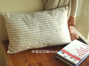 ZAKKA日式杂货 MUJI风 素色条纹 棉麻 抱枕/靠垫(小号),靠垫,