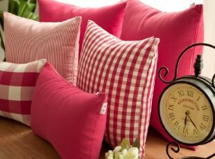 Evert格纹 沙发靠垫靠垫套抱枕抱枕套靠枕 不含芯玫红,靠垫,