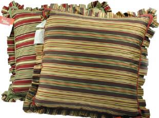 『外单』出口欧洲TG全棉彩条裙边款靠垫(含芯) 43*43cm 2色,靠垫,