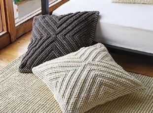 简单的奢华 欧式羊毛棉混纺手工编织超大厚实靠垫套,靠垫,