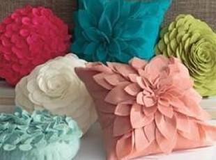 简单的奢华  纯色素色立体花瓣靠枕靠垫抱枕 含芯可拆洗,靠垫,