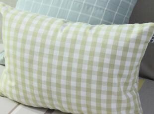 棉麻绿色小格子布艺靠垫抱枕靠枕套 田园沙发靠背腰垫两用 特价,靠垫,