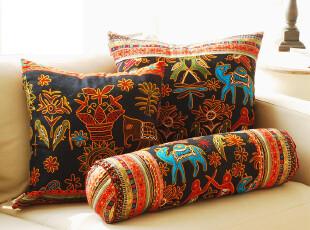 奇居良品 沙发床头靠垫套抱枕套靠枕 东南亚4件套,靠垫,