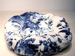 日式和风水墨丹青棉麻布圆坐垫,靠垫,