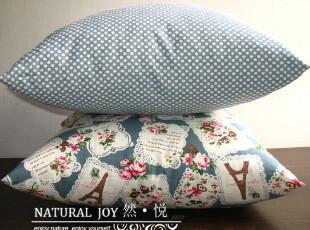 [然悦]夏季新品 出口棉麻蓝色小清新 抱枕套 靠垫套-以吻封缄,靠垫,