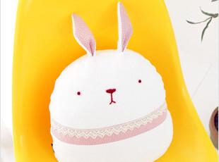 韩国代购格子修饰超可爱毛绒兔兔卡通靠垫坐垫(白色)34cm,靠垫,