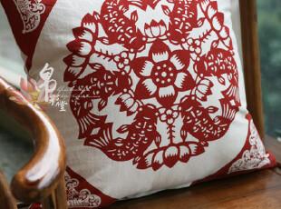 【骨朵】帛彩堂纯棉帆布中式靠垫套抱枕家居软装剪纸年年有余,靠垫,