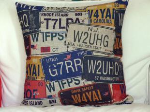 外贸复古怀旧创意车牌 棉麻抱枕 办公室靠垫汽车靠枕护腰沙发垫,靠垫,