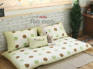 【Asa room】韩国进口靠垫 田园绿色可爱圆点懒人沙发靠背 s300-g,靠垫,