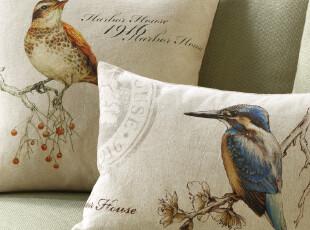 Harbor House 手绘花鸟印花靠垫 原创手绘 抱枕套 两个规格可选,靠垫,