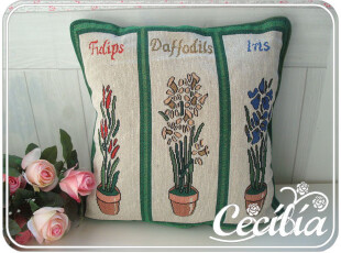 外贸原单正品 色织提花布靠垫套 抱枕套 不含芯 兰花,靠垫,