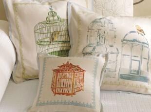 简单的奢华 现货 清新飞鸟水瓷蓝边棉麻混纺靠垫抱枕套,靠垫,