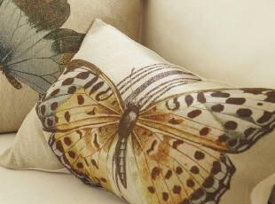 【纽约下城公园】 咖啡馆风情蝴蝶写真腰枕套 现货,靠垫,