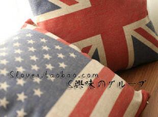 55包邮 ZAKKA复古做旧风~ 麻料制~国旗系列 靠垫/抱枕2款选,靠垫,