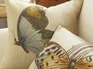 【纽约下城公园】  咖啡馆风情蝴蝶写真靠垫套 现货,靠垫,