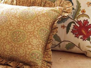 【纽约下城公园】 暗黄元宝花朵剪影腰垫套(30.5x60.5) 现货,靠垫,