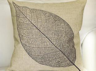 外贸 复古怀旧创意 冬 树叶 棉麻抱枕 办公室靠垫靠枕沙发垫家居,靠垫,