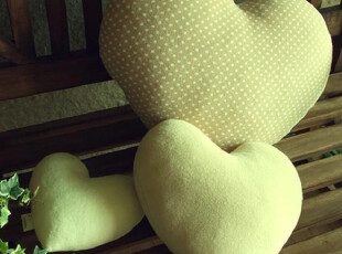 『韩国进口家居』B923 舒展的心 绿色心型靠垫/抱枕 三只装,靠垫,