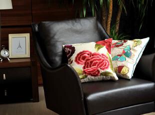 JF5069 外贸尾货 棉麻 精品高密刺绣 靠枕套 抱枕套 腰枕套,靠垫,