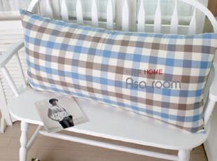【Asa room】韩国床头靠垫 代购蓝色棕色格子纹进口纯棉靠枕s224,靠垫,