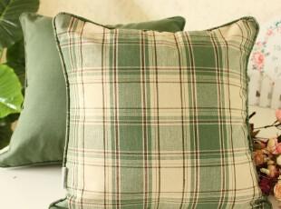 高档 抱枕 靠枕 靠背 靠垫套 美式乡村绿格,靠垫,