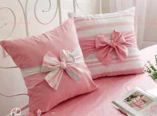 简约舒适 公主风格 [夏洛特] 可爱公主 条纹大蝴蝶结方靠垫抱枕,靠垫,