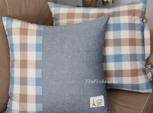 韩式优雅 低调蓝咖 棉制细节 信封式 靠垫套/抱枕套,靠垫,