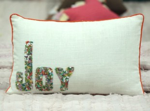 美式欧式乡村田园创意家居 家纺 印度字款JOY手工 抱枕 靠包 靠垫,靠垫,