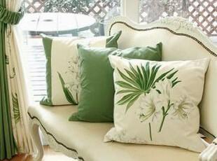 韩国进口代购 绿色田园抱枕套沙发腰靠套腰垫套 不含芯,靠垫,