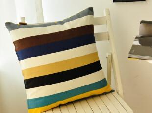 笑笑家居!夏季帆布条纹抱枕套|靠垫套|坐垫套|腰枕套| 可定做,靠垫,