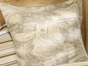 【纽约下城公园】17世纪探险家地图靠垫套/欧式枕套,靠垫,
